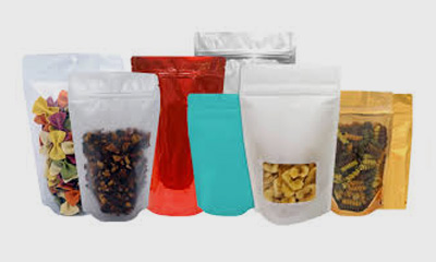 assortment of filled stand up pouches